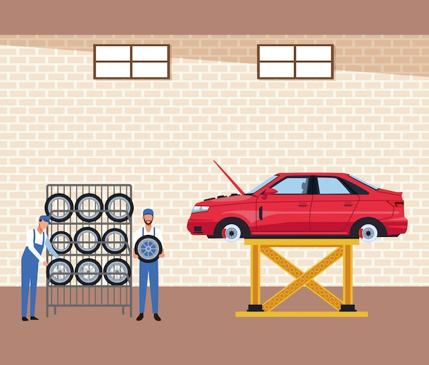 車のタイヤラックと持ち上げられた車のメカニックと車のワークショップの風景