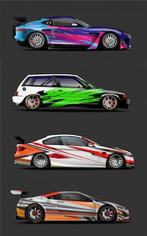 Car wrap. abstract stripe for wrapping universal vehicle
