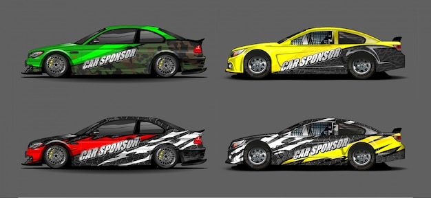 Car wrap decal design vector. abstract graphic background kit designs for vehicle, race car, rally, livery, sport car