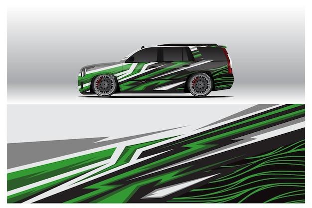 カーラップデカールデザイン。レースのカラーリングまたは日常使用の車のビニールステッカーの抽象的なレースとスポーツの背景。デカールベクトルepsレディプリント。