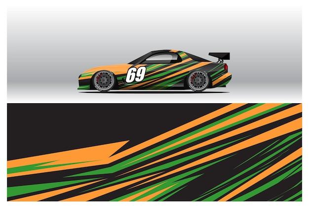 자동차 랩 데칼 디자인. 레이싱 리버리 또는 매일 사용하는 자동차 비닐 스티커를 위한 추상 레이싱 및 스포츠 배경. 데칼 벡터 eps 준비 인쇄입니다.