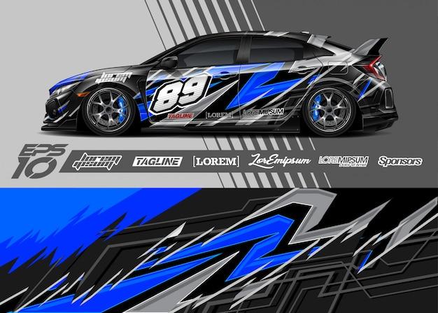 Автомобильная упаковка графического дизайна. абстрактная полоса гонок.