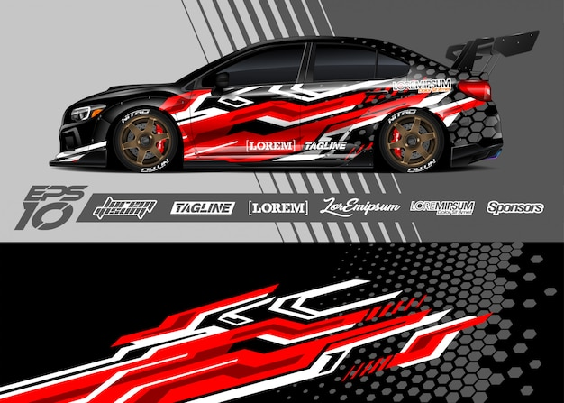 Car wrap decal graphic design. abstract stripe racing .