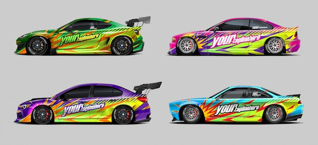 Car wrap decal set for rally and race