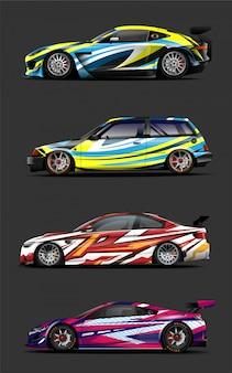 Car wrap. decal vinyl sticker. abstract stripe for wrapping universal vehicle