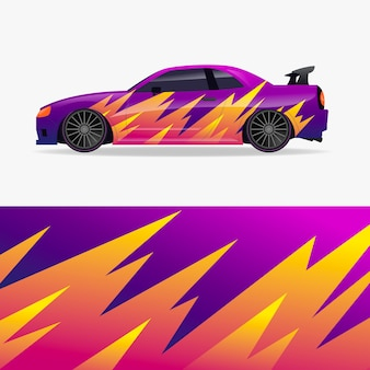 Car wrap design with flames