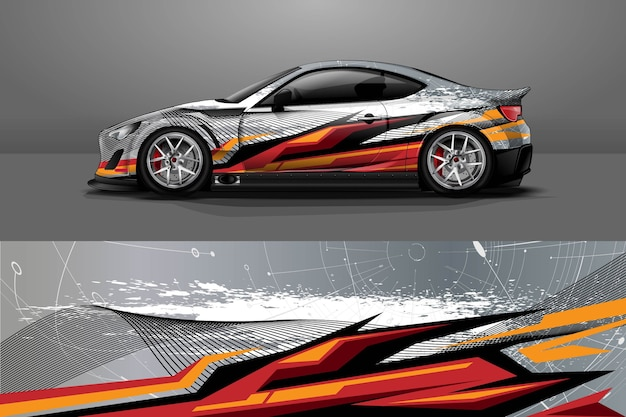 Car wrap design with stripe and grunge abstract design