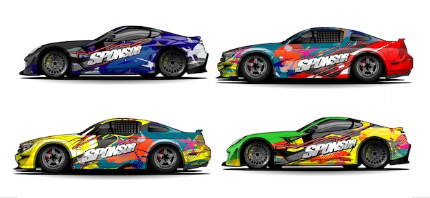 Car wrap graphic racing abstract strip and background for car wrap and vinyl sticker - vector