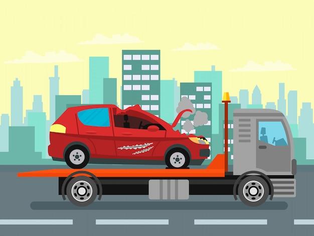 Car wreck, evacuation service color illustration