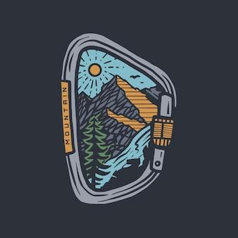 カラビナバッジのイラストとtシャツのデザイン
