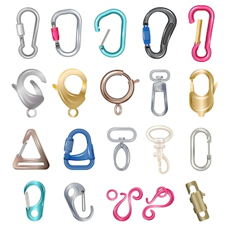 Carabiner clasps illustrations metal colored hooks, clips, snap and claws icon set isolated on white background