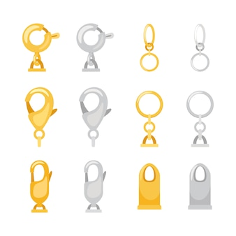 Carabiner metal clasps isolated set