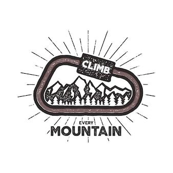 Карабин винтажный дизайн с текстом и символами скалолазания - горы. типография печать эмблема на белом фоне. эффект высокой печати