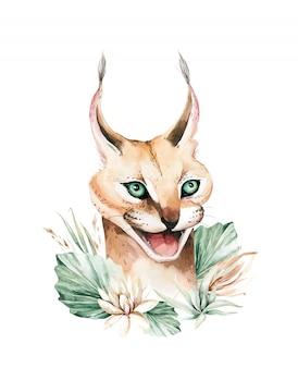 カラカルの野生の猫。アフリカのサーバルの肖像画の水彩動物の絵画