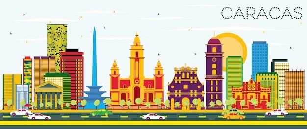 컬러 건물과 푸른 하늘이 있는 카라카스 스카이라인. 벡터 일러스트 레이 션. 역사적인 건물과 비즈니스 여행 및 관광 개념입니다. 프레젠테이션 배너 현수막 및 웹사이트용 이미지.
