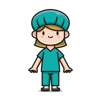 Caracter cute nurse cartoon character