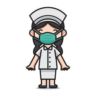 Caracter cute nurse wearing masks