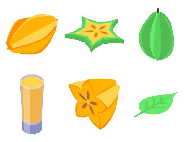 Carambola icons set