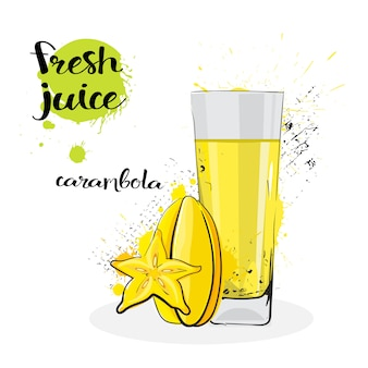 Carambola juice fresh hand drawn watercolor fruits and glass on white background