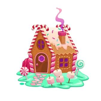 카라멜과 생강 만화 요정 집 또는 주거. 크리스마스 진저브레드 쿠키 하우스, 크래커, 사탕 지팡이, 젤리, 마시멜로, 아이싱, 롤리팝 사탕으로 만든 만화 벡터 동화 오두막