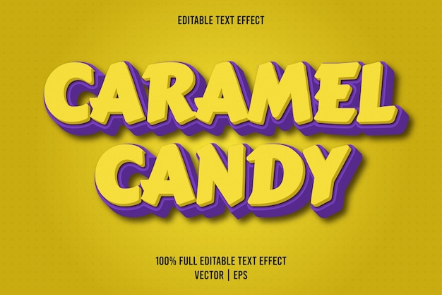 Caramel candy editable text effect yellow and purple color