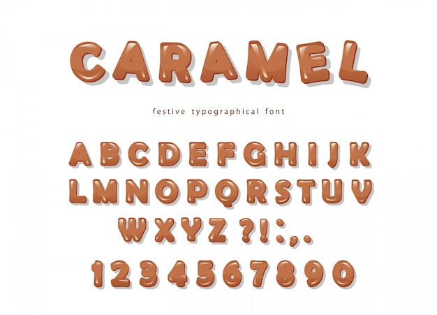 Caramel font design. sweet glossy abc letters and numbers