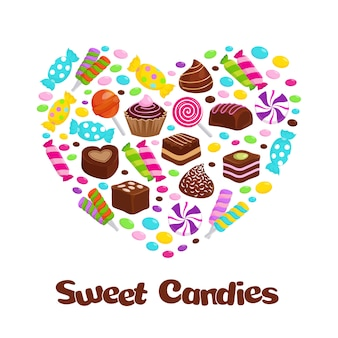 Caramel lollipop candies and chocolate sweets flat icons in heart shape