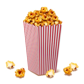 Caramel popcorn in classic striped container, 3d illustration