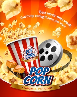 Caramel popcorn poster with flying corns and cinema items in  illustration