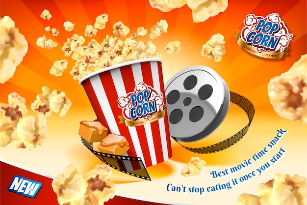 Caramel popcorn with film roll elements and corns flying in the air , striped orange background