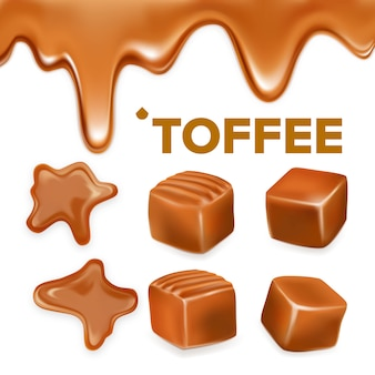Caramel toffee candy delicious sweet set