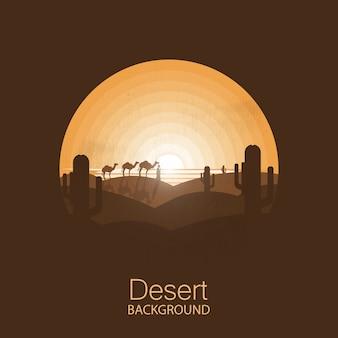 Caravan of camels in the dry desert under sun