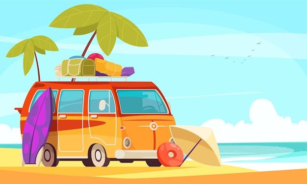 Caravan camper van surfing vacation flat cartoon composition with retro style minibus on sand beach illustration