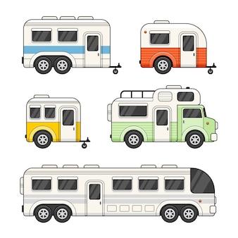 캐러밴 캠핑 트레일러 흰색 배경에 설정합니다.