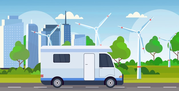 Caravan car family trailer truck driving on road recreational travel vehicle camping concept wind turbines cityscape background flat horizontal