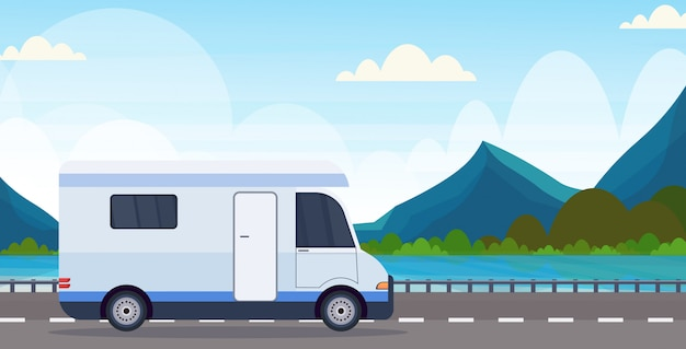Caravan car traveling on highway recreational travel vehicle camping concept beautiful nature river mountains landscape background flat horizontal