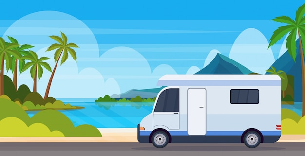 Caravan car traveling on highway recreational travel vehicle camping summer vacation concept tropical island sea beach landscape background flat horizontal