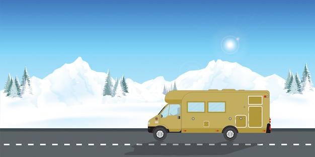 Caravan car vacation in winter holiday trip
