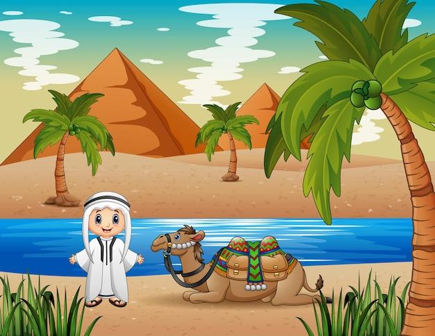 사막에서 낙타를 몰아내는 캐러밴