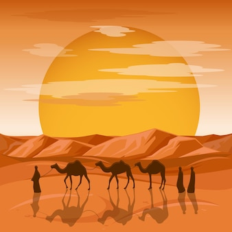 Караван на фоне пустыни. арабские люди и силуэты верблюдов в песках. караван с верблюдом, силуэт верблюжьей коры, путешествие в песчаную пустыню, иллюстрация