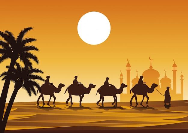 Caravan muslim ride camel to mosque