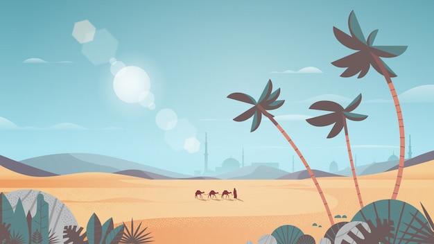 Караван верблюдов проходит пустыня ид мубарак поздравительная открытка рамадан карим шаблон арабский пейзаж горизонтальный иллюстрация