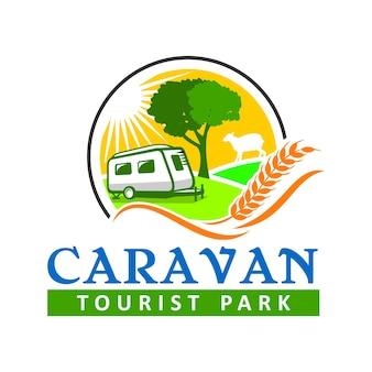 Шаблон логотипа caravan park