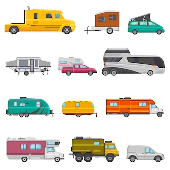 Caravan vector camping trailer and caravanning vehicle for traveling or journey illustration