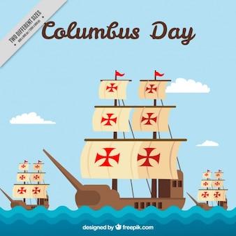 コロンブスの日のためのフラットスタイルで三caravels