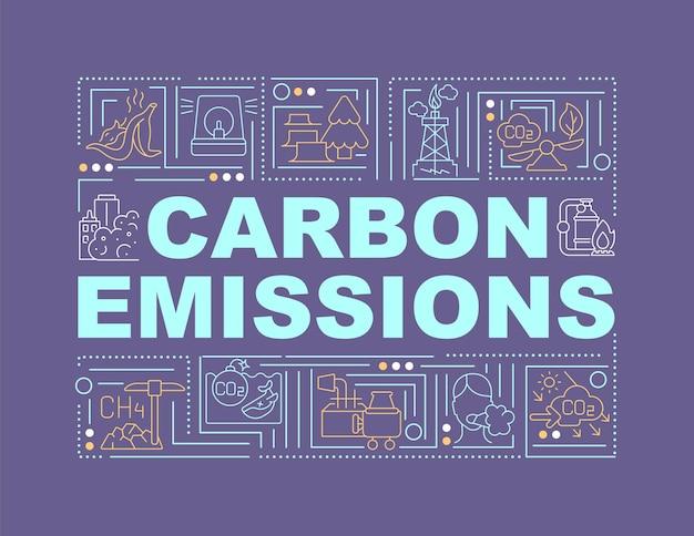 炭素排出量の単語の概念のバナー