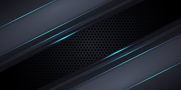Carbon fiber dark gray background with blue luminous lines and highlights.