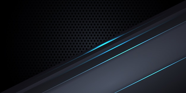 Carbon fiber dark gray background with blue luminous lines and highlights