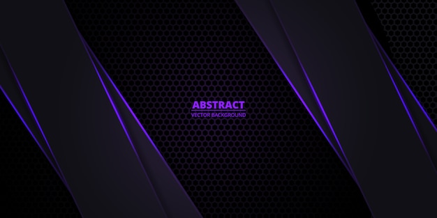 Carbon fiber dark violet background with purple neon luminous lines and highlights.