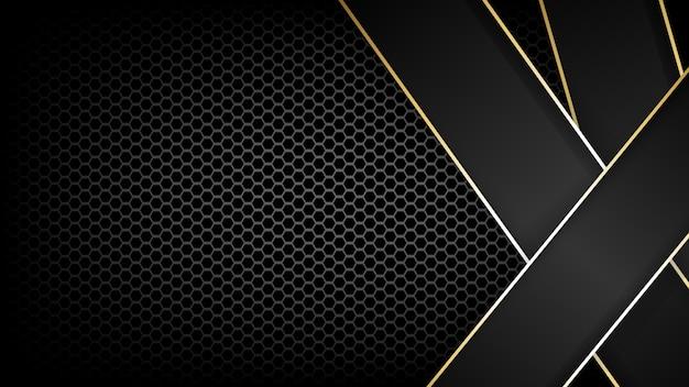 Текстура из углеродного волокна и золотая линия фона